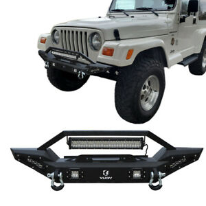 Front Bumper Fits 1997 2006 Jeep Wrangler Tj With 5 Led Lights And Winch Seat