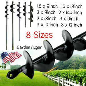 8sizes Planting Auger Spiral Hole Drill Bit Garden Yard Bulb Earth Planter Tool