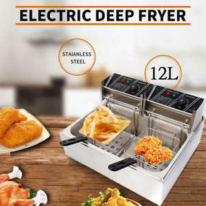 12l Electric Deep Fryer Dual Tank Stainless Steel Commercial Restaurant 5000w