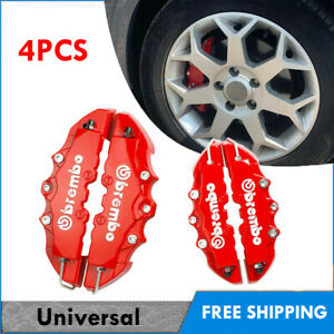 4pcs Red Color Style 3d Car Universal Disc Brake Caliper Covers Front Rear Kit