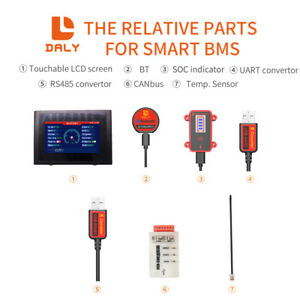 Smart Bms Accessory Bluetooth Usb To Uart Rs485 Cable Can Power Board Touch Lcd