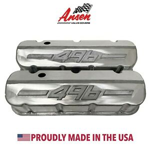 Big Block Chevy 496 Tall Valve Covers Unfinished W Raised Logo Ansen Usa