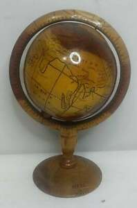 Beautiful Wooden Globe Authentic Made In Haiti Decorative Staging Prop