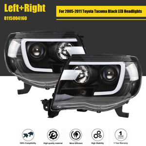 For 2005 2011 Toyota Tacoma Black Sequential Led Tube Projector Headlights Pair