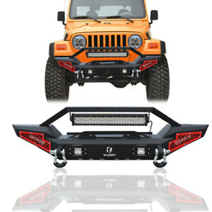 Front Bumper Fits 1997 2006 Jeep Wrangler Tj W High Power Led Light Winch Seat