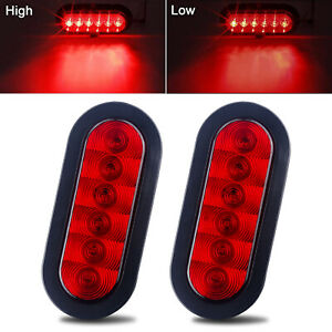 2 X Trailer Truck 6 Led Sealed Red 6 Oval Stopturntail Light Waterproof