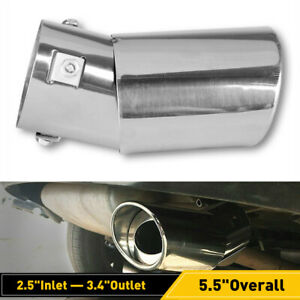 2 5 Auto Car Chrome Muffler Rear Tip Exhaust Pipe Stainless Steel Tail Throat