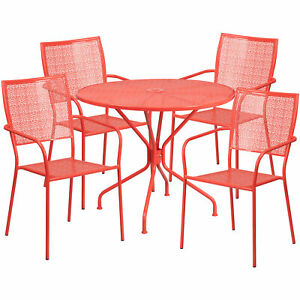 Flash Furniture 35 25 Coral Steel Patio Table Set With 4 Square Back Chairs