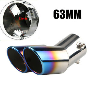 Car Auto Blue Rear Dual Exhaust Pipe Tail Muffler Tip Throat Tailpipe Auto Parts