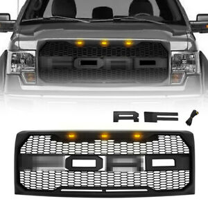 For 2009 2014 Ford F150 Raptor Style Grill W 3 Amber Lights Letters Matte Black