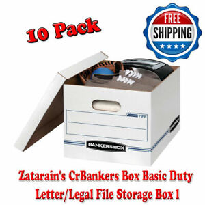 Bankers Box Basic Duty Letter Legal File Storage Box With Lids 10 Pack White