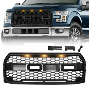 For 2015 2017 Ford F150 Front Grille Raptor Style Grill W 3 Amber Lights Black