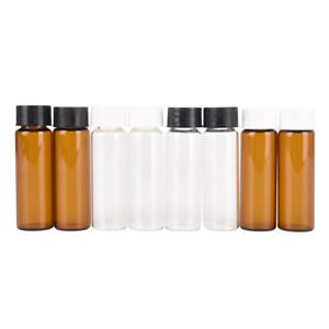 2pcs 15ml Small Lab Glass Vials Bottles Clear Containers With Screw Cap H Aj