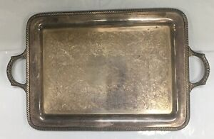Antique Wm Rogers Silver Plate Serving Large Ornate Tray 25 5