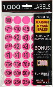 Pack Of 1000 Yard Garage Sale Price Stickers Prepriced Labels Self Adhesive Tags