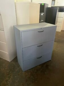 3 Drawer Lateral Size File Cabinet By Teknion 36 w W lock key