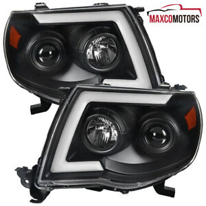 Black For 2005 2011 Toyota Tacoma Projector Headlights W Led Sequential Signal