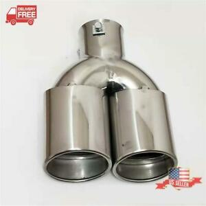 2 Inlet Type Y Car Oval Dual Exhaust Pipe Muffler Tip Universal Stainless Steel