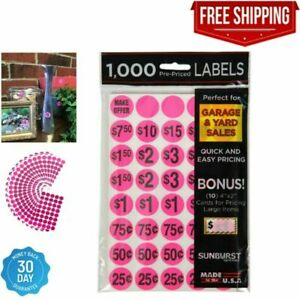 1000 Pack Yard Garage Sale Price Stickers Prepriced Labels Self Adhesive Tags