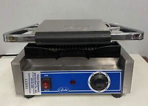 Globe Gpg10 Commercial Panini Press Sandwich Grill W Grooved Plates 120v