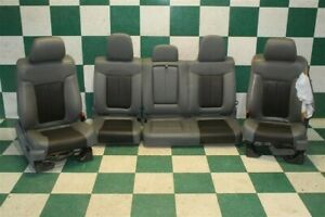 11 14 F150 Limited Crew Gray Black Leather Heated Cooled Buckets Backseat Seats