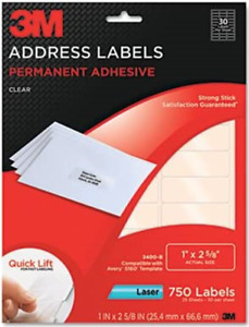 3m Address Labels Clear Laser 1 X 2 5 8 750 box same Size As Avery 5630 5160