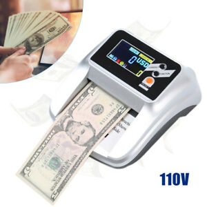 Money Bill Counter Machine Cash Counting Counterfeit Detector Us Dollar