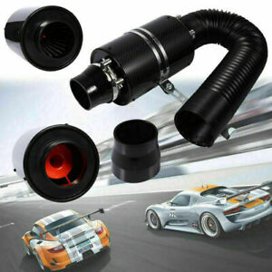 Universal Cold Feed Induction Kit Carbon Fiber Air Intake Filter Hose Tool Us
