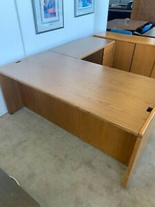 6 x7 L Shape Desk By Kimball Office Furniture In Oak Finish Wood Laminate Top