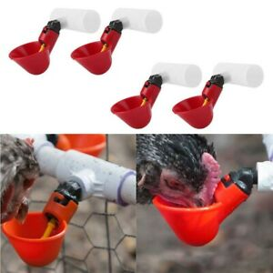 Red Water Drinking Cup Poultry Three Way Chicken Hen Automatic Drinker Feeder