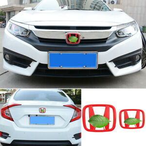 Fit For Honda Civic 2016 2021 Glossy Red Front Rear Grille Logo Emblem Badge 2pc