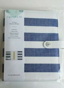 The Paper Studio Agenda 52 6 ring A5 Planner Binder Cover Blue And White Stripe