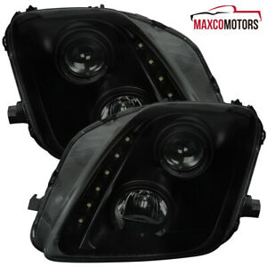 Black Smoke For 1997 2001 Honda Prelude Projector Headlights W Smd Led Drl L R