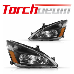 Headlights Assembly For 2003 2007 Honda Accord Black Housing Clear Lens 04 05 06 Fits 2003 Honda Accord Coupe
