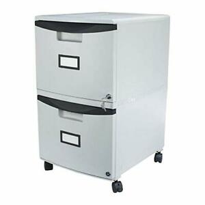 Storex Plastic 2 drawer Mobile File Cabinet All steel Lock And Key Gray black