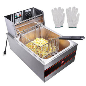 2500w 6l Electric Deep Fryer Cooker Commercial Home Countertop Stainless Steel