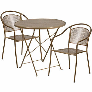 Flash Furniture 30 Gold Steel Folding Patio Table Set With 2 Round Back Chairs