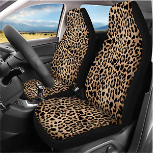 Toaddmos Trendy Leopard Animal Print Car Front Seat Covers Set Of 2wild Cheetah