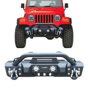 Front Bumper Fits 1997 2006 Jeep Wrangler Tj With D Ring And Winch Seat