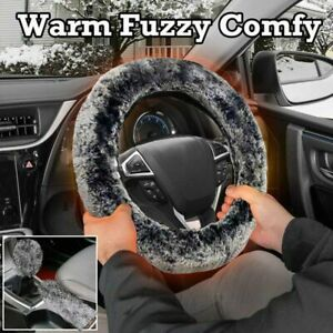 15 Winter Warm Fuzzy Steering Wheel Cover With Handbrake Cover Gear Shift Cover