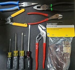 9 Piece Electricians Tool Set W leather Pouch And Web Belt