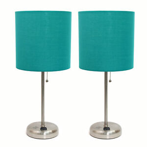 Limelights Brushed Steel And Teal Shade 2 Pack Set Stick Lamp Lc2001 tel 2pk