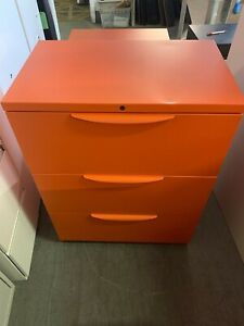 30 l Orange Color 3 Dr Lateral File By Steelcase Office Furniture