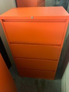 30 l Orange Color 4 Dr Lateral File By Steelcase Office Furniture