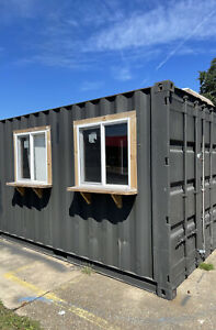 Shipping Container Converted To Retail Store Insulated With Windows And Door