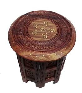 Wooden Folding 18 Inch Table With Brass Inlay Work Coffee Table Round Table