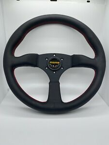 350mm Sports Momo Size Steering Wheel Red Stitch Comes With Momo Horn Kit