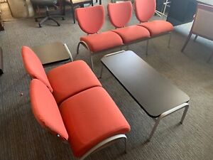 Three Seater And Two Seater With Two Rectangular Black Tables Lot