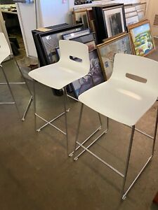 Bar Height Chairs By Allermuir White Plastic W Chrome Base