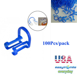 100pcs Dental Cotton Roll Holder Blue Disposable Clip For Medical Lab Supplies